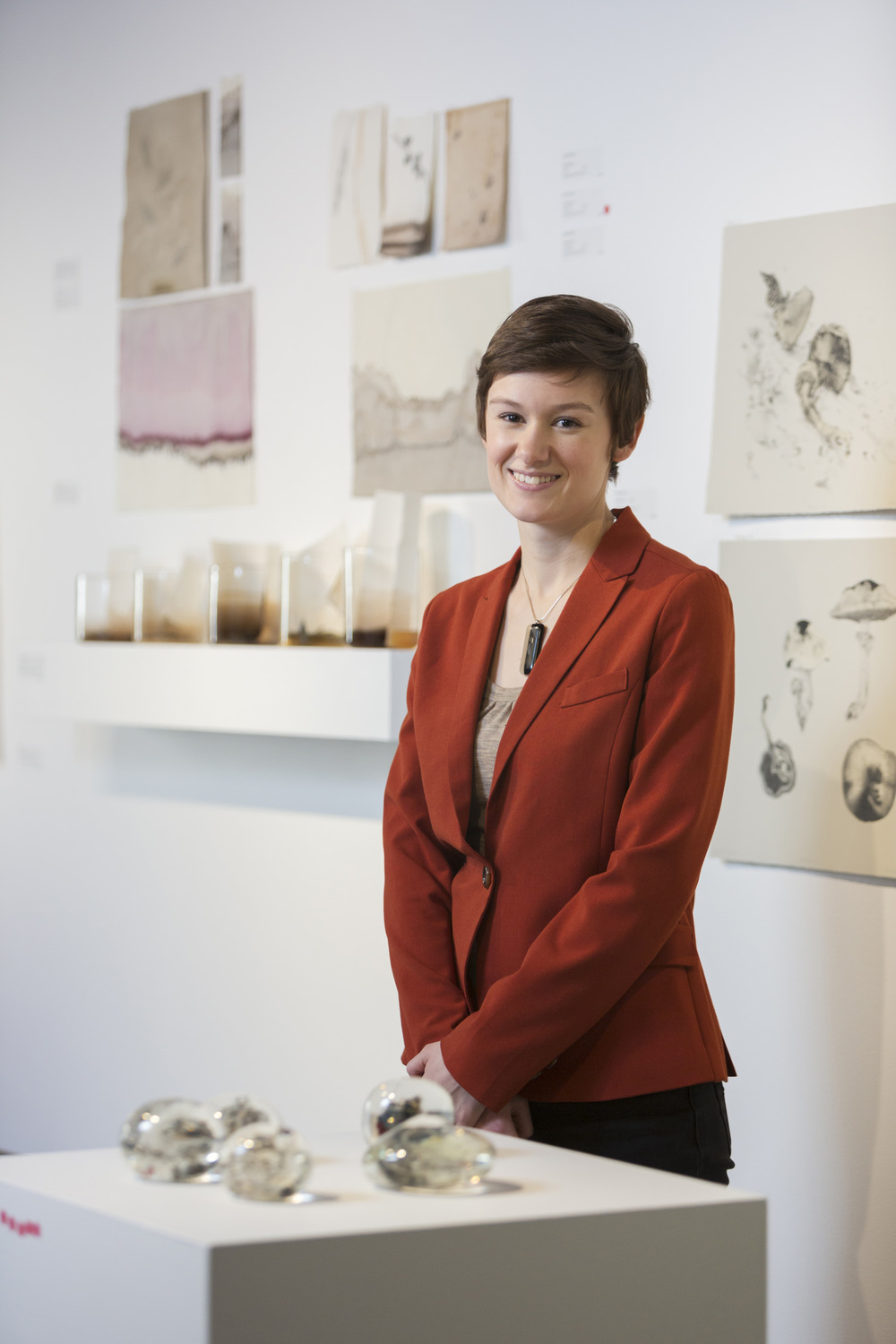 Emilie Patteson, 2014 (photo by Adam McGrath), Canberra Glassworks GLINT exhibition install