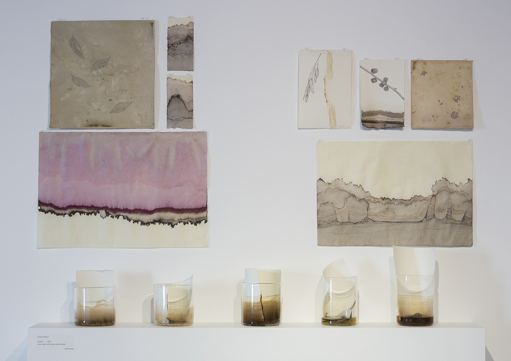 natural dyes on paper by Annika Romeyn and Emilie Patteson (top) with Infusion by Emilie Patteson (bottom), 2014, (photo by Adam McGrath), Canberra Glassworks GLINT exhibition install