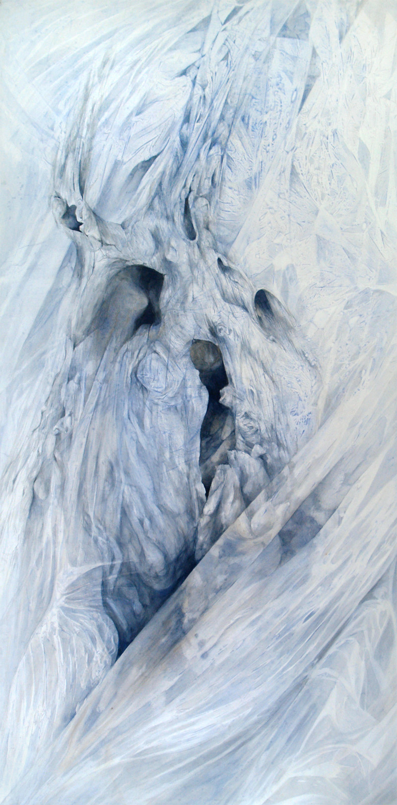 Fossil, watercolour on stretched paper, 210 x 106 cm. 2010