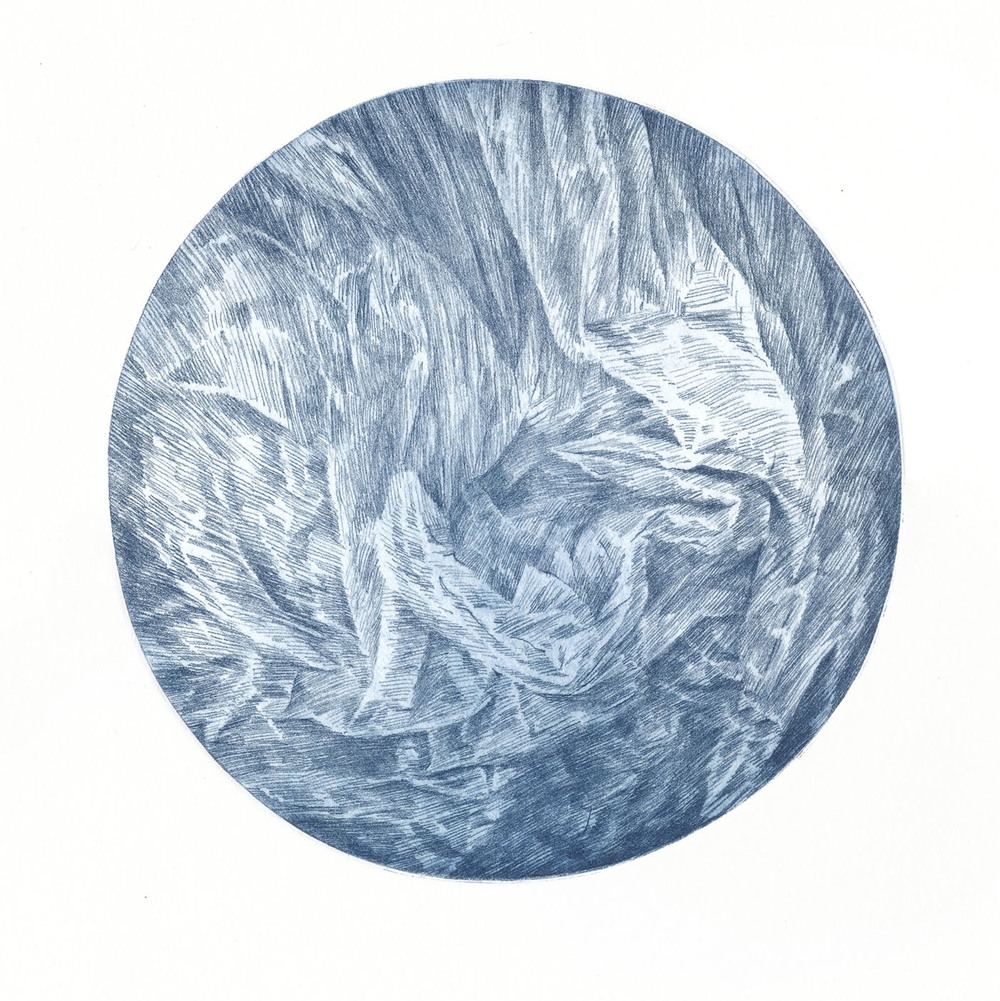 Faults and Facets, etching, 20 cm diameter (image) 38 x 28 cm (paper), 2011