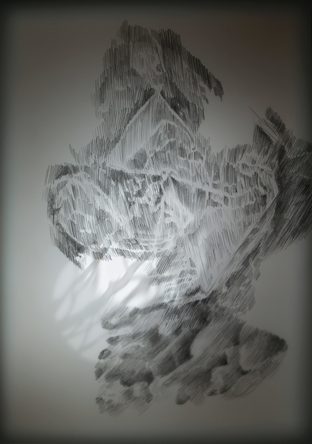 Echoes (top view, detail), graphite on drafting film, perspex, MDF, low voltage light, 30 x 21 x 81 cm
