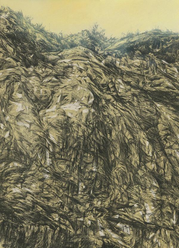 Fog Descends I, lithograph and gouache, 56 x 36 cm, unique state, 2012