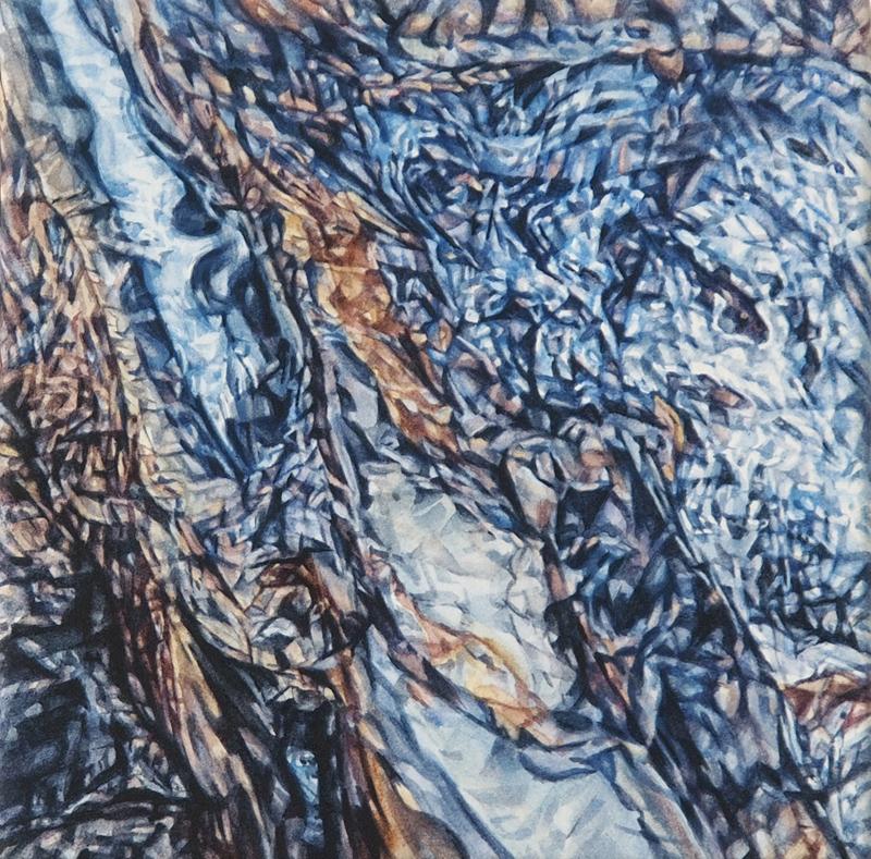 Whitsundays Jewel 2, 2016, watercolour on paper, 15cm x 15cm x 3.8cm