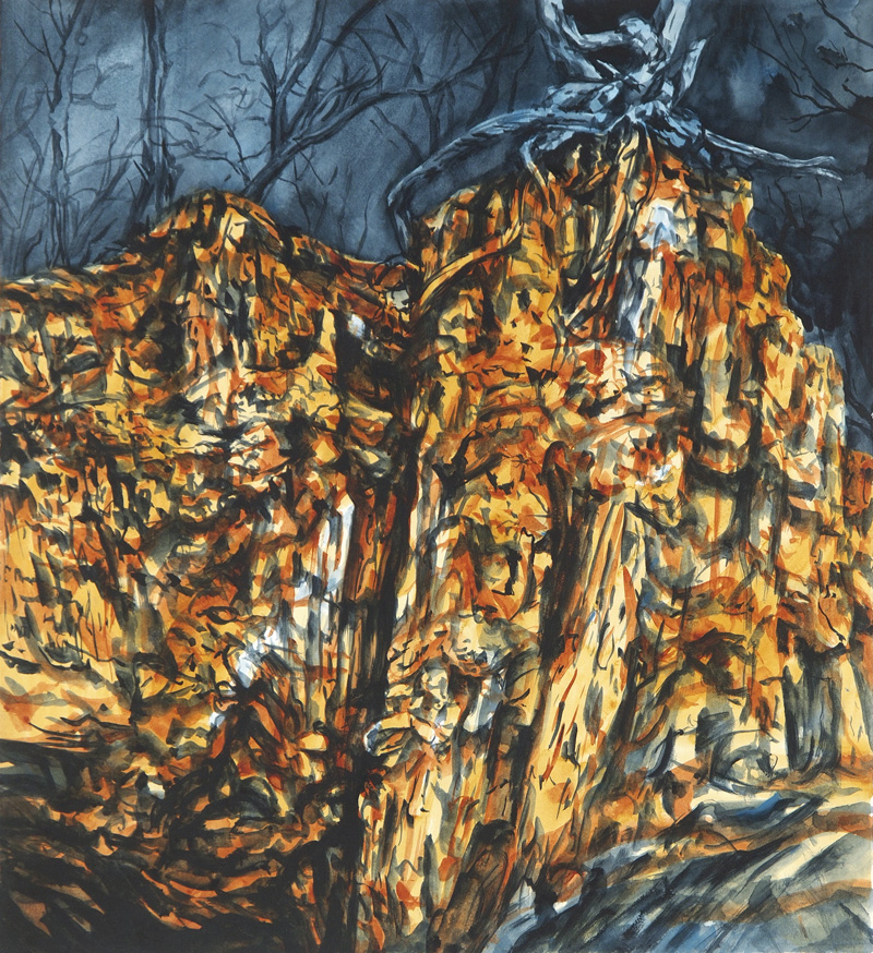 Golden Hour (Hill End), 2015, watercolour on paper, 63cm x 56cm