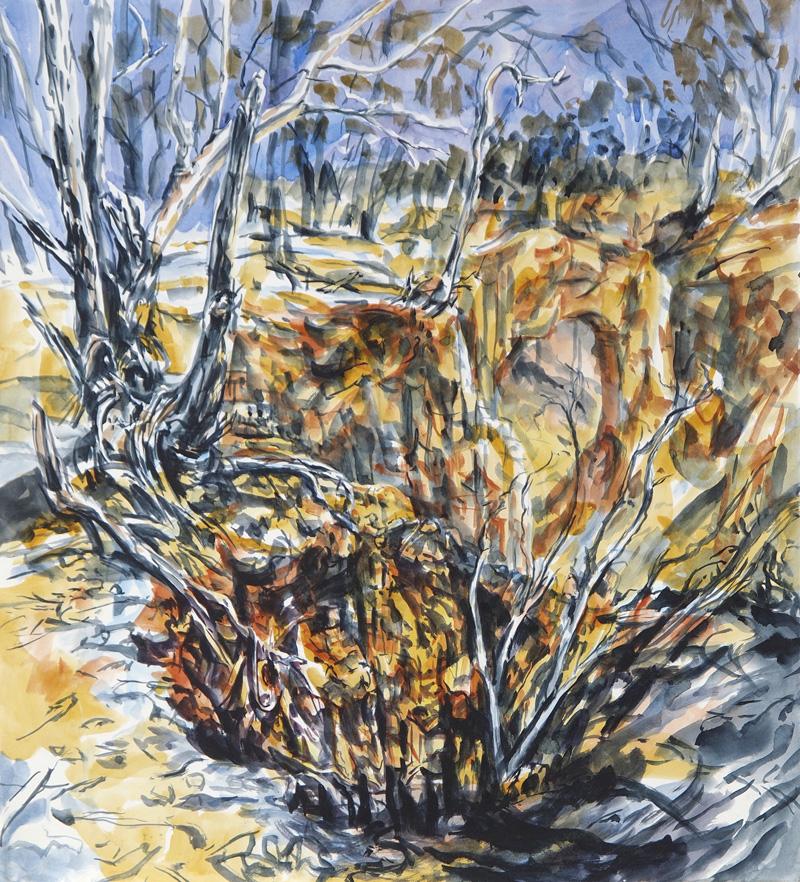 Mineshaft (Hill End), 2015, watercolour on paper, 63cm x 56cm