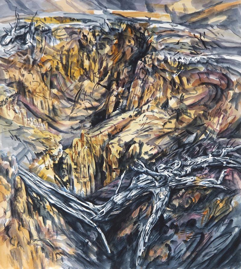Diggings (Hill End), 2015, watercolour on paper, 63cm x 56cm