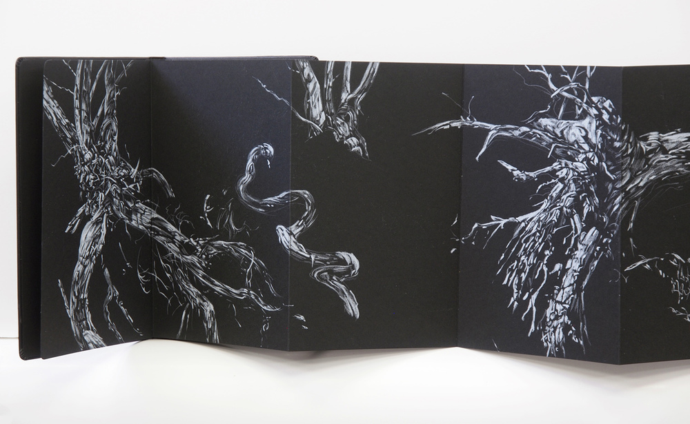 Fallen Sentinels, 2015, pencil in concertina book, 21cm x 221cm