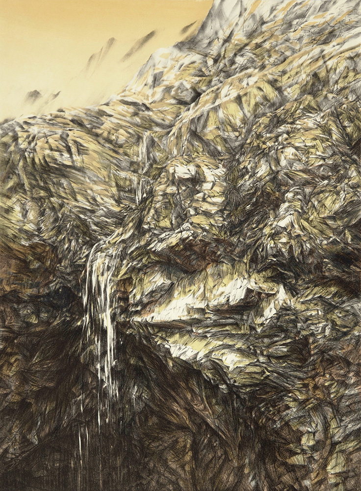 Ravine, lithograph, 76 x 56 cm, edition of 6, 2012 (printed at Lancaster Press)