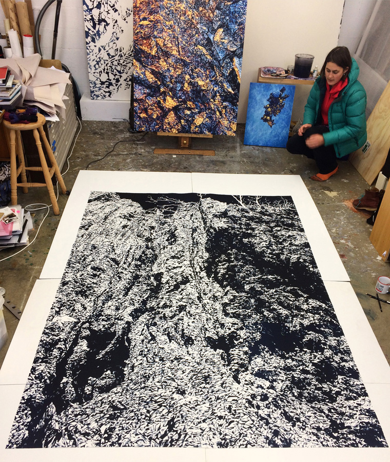 Chasm 1 (in studio), 2017, monotype on paper, 228cm x 168cm