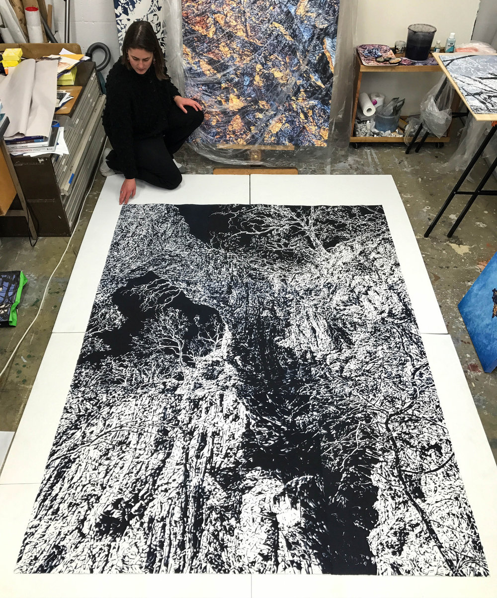 Chasm 3 , 2017, monotype on 9 pieces of paper, 228cm x 168cm