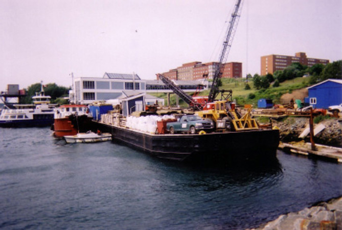Barge Loaded with Eqipment and Materials for Wharf Construction in Makkovik Labrador, Waterworks Marine Terminal, Woodside, NS