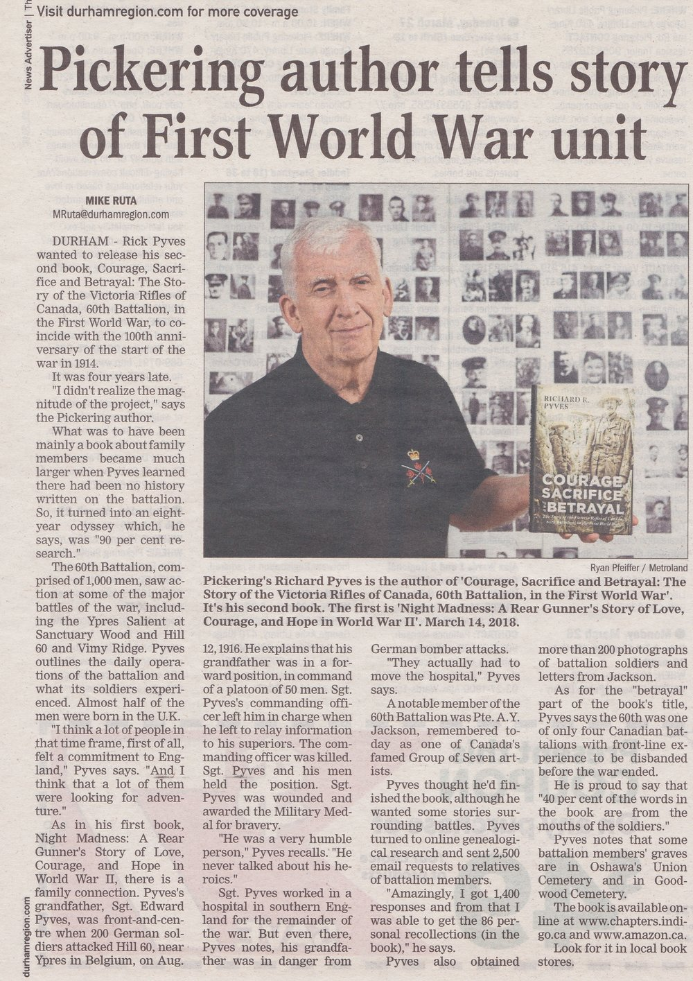 Article Courtesy of Pickering News Advertiser  - March 22, 2018