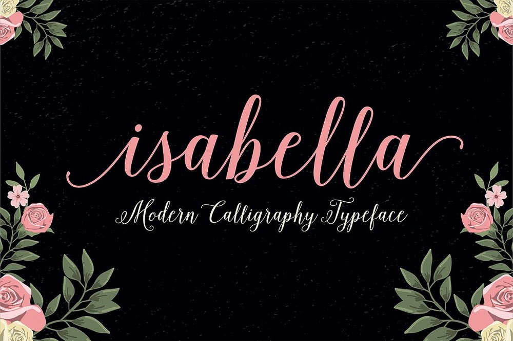 Isabella Is A Beautiful Modern Calligraphy Typeface Perfect For Wedding Invitations It Features Lovely Flourishes And Swashes While Still Remaining Very