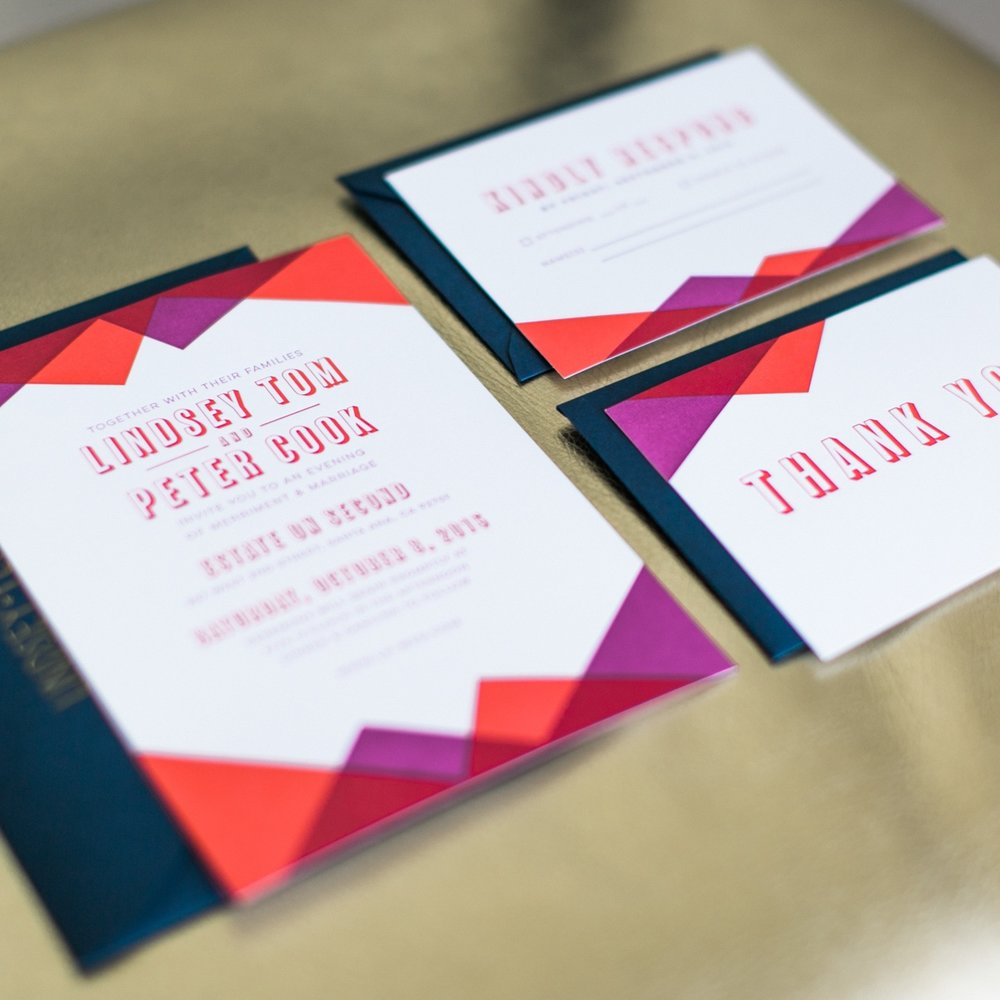 Wedding Invitation Suite - Letterpress, Print, Stationery