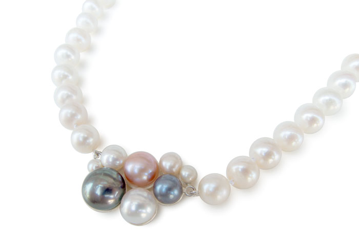 Blush, pearl necklace