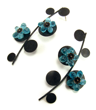Blue Flowers, earrings