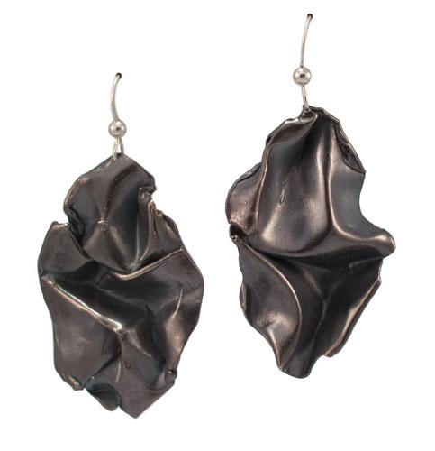 Fold, black solid drop earrings
