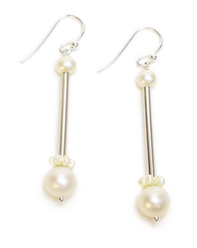 Pearl Station, silver earrings
