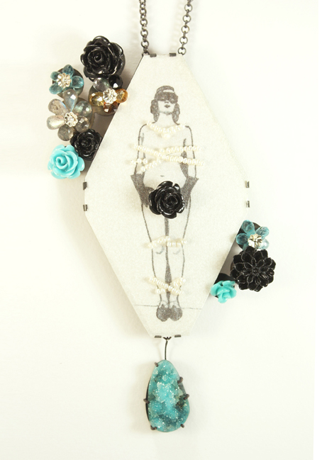 Blue Flowers, pendant/brooch