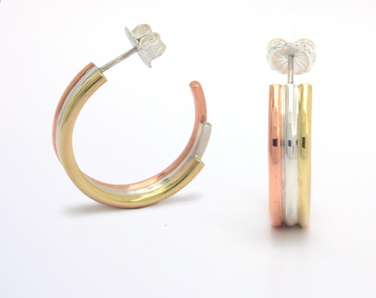 Tonal, striped hoop earrings
