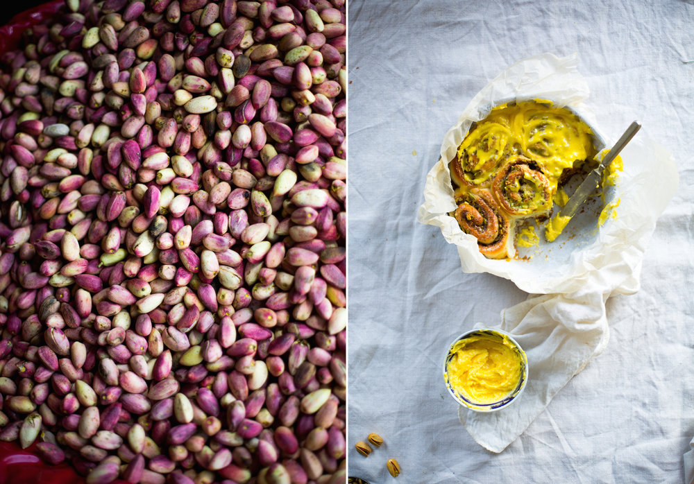 Rosewater Cardamom Pistachio rolls Saffron frosting