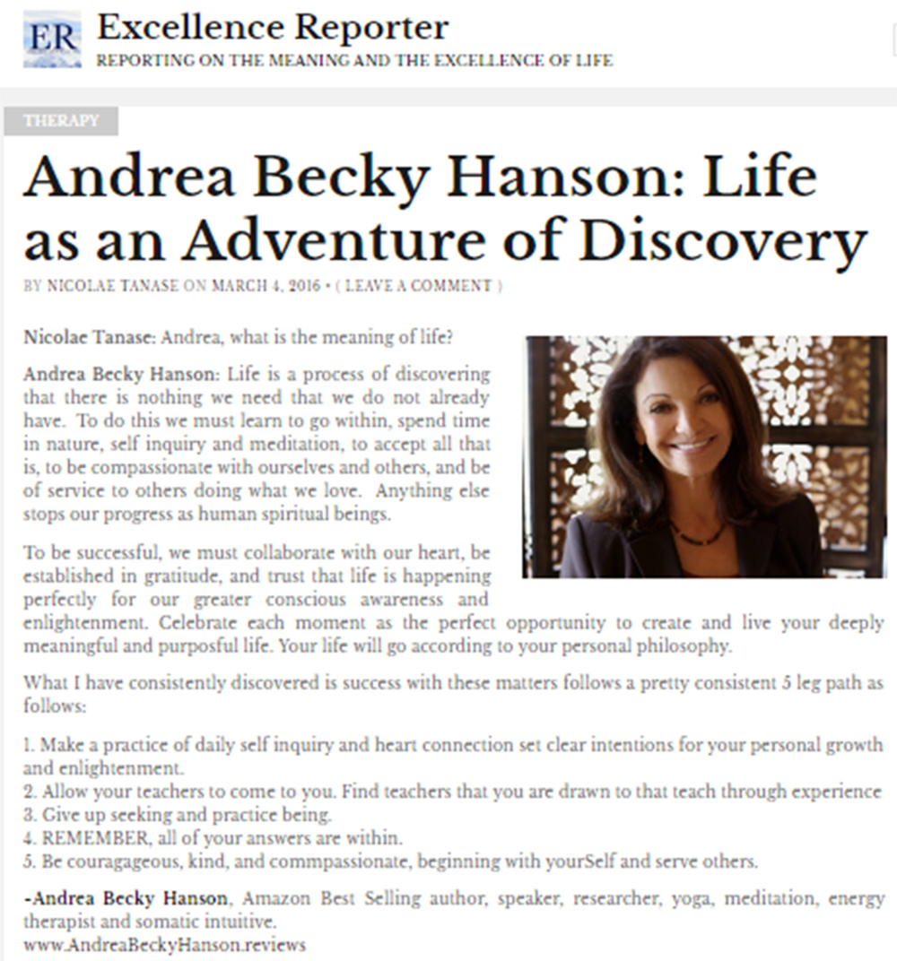 Andrea Becky's Article in Excellence Reporter