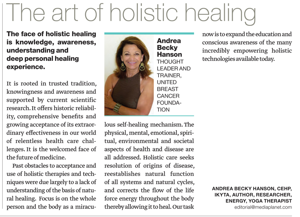 The art of holistic healing by Andrea Becky Hanson in USA Today