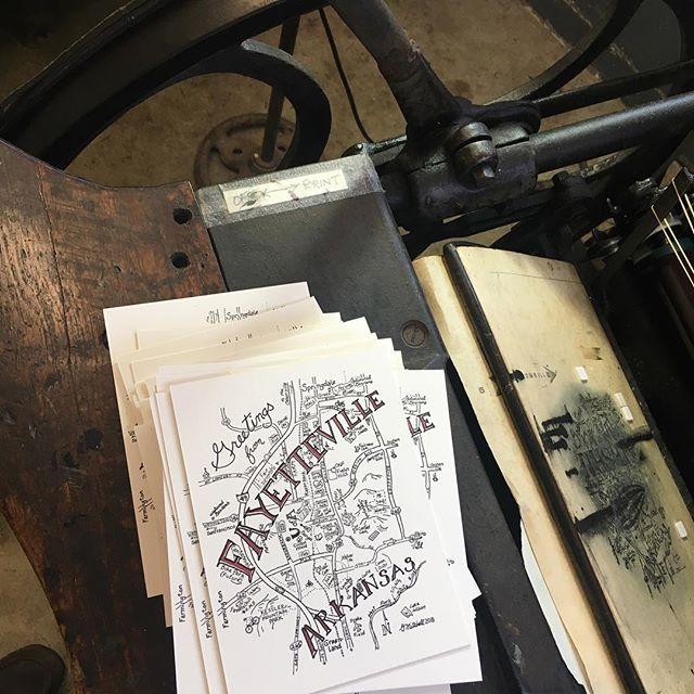 Gotta keep good ol' Fayetteville in stock... #letterpress #fayettevillear #arkansas #postcard