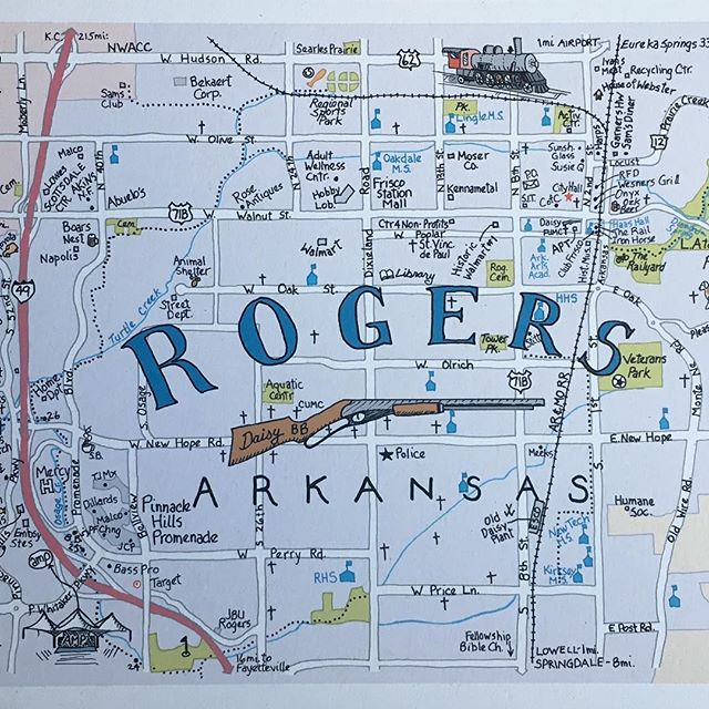ROGERS!! Now available, along with other Northwest Arkansas cities: Fayetteville, Bentonville, and Springdale. #mapart #penandink #arkansas #rogersarkansas #cartography #cartographyart