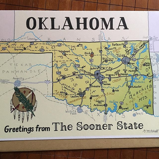 OKLAHOMA! Now available. Our beautiful, windy neighbor just west of my home in Arkansas. #cartographyart #mapcards #oklahoma #penandink