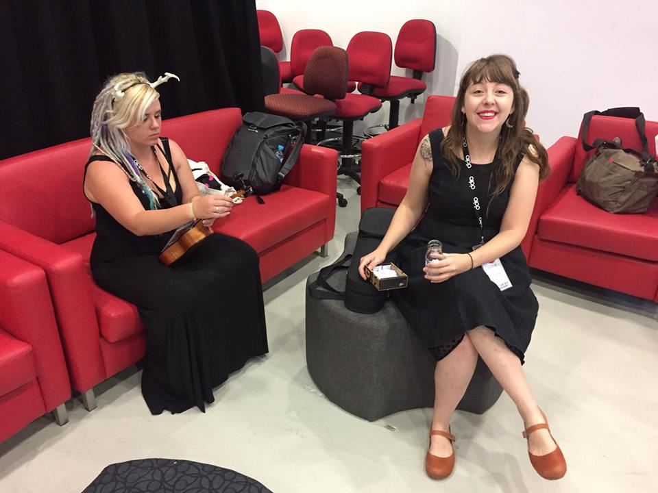 Me with Kate Pardey (my platonic life partner who kept me in check and sorted the entire weekend) tuning Happy the Ukulele before going on stage.. Thankyou to Kris Anderson for snapping this on his phone!