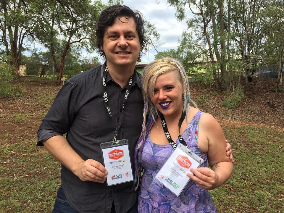 Me and Kris with our handmade Safety Unicorn Badges. We gave them out to people over the confrence as a way for newbies to get to know us a bit