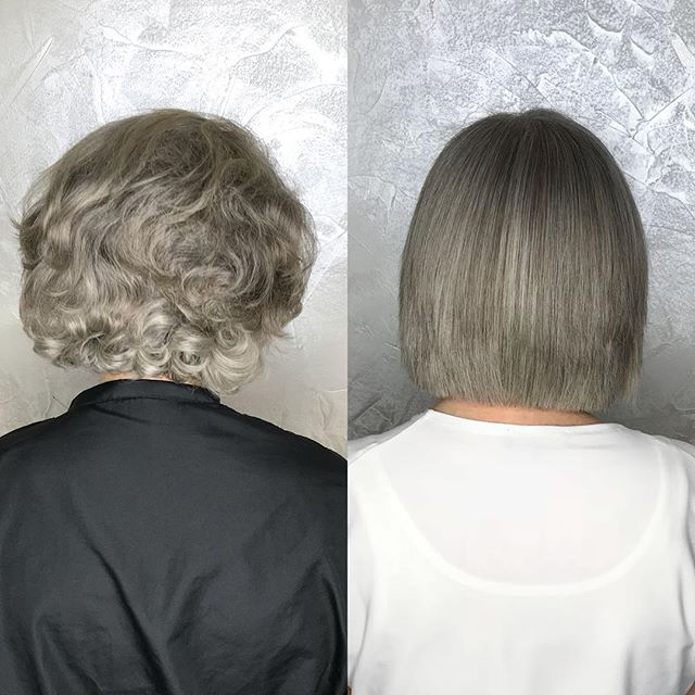 Brazilian Keratin by Amy to tame this lovely ladies frizz for the more humid seasons 🌂☔️ . . . . . #braziliankeratin #smootheningtreatment #frizzfreehair #bob #colorworksny #colorworksamy