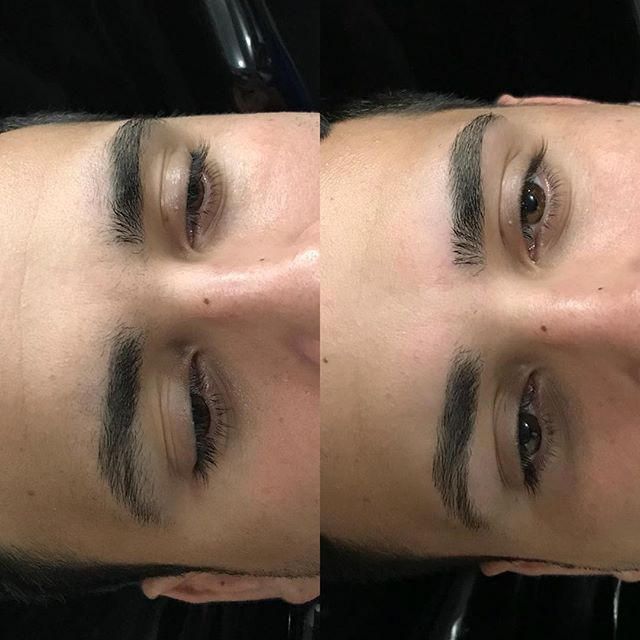 Brow cleanup using cirepil hard wax . . . . . #nycbrows #mensbrowcleanup #nycbrowwax #eyebrowsonpoint #colorworksny #colorworksmiriam