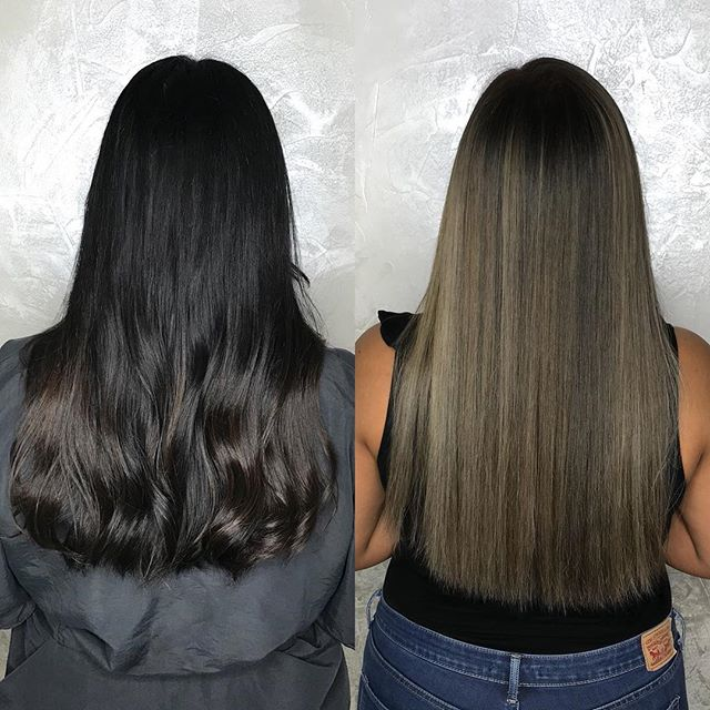Full balayage with shadow root and lowlights to add dimension and achieve an ashy tone 😻 Color by Amy using pulpriot lighteners, lots of B3, and color touch to tone ✨ . . . . #ashbrownhair #brazilianbondbuilder #b3 #pulpriotlightener #beforeandafterhair #colorworksny #colorworksamy