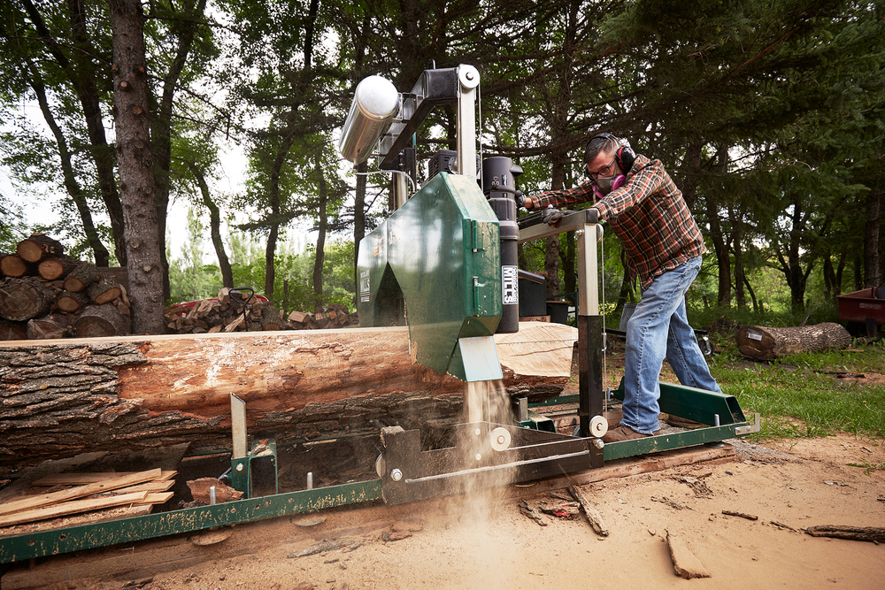 Milling raw logs into lumber for building my handcrafted live edge furniture