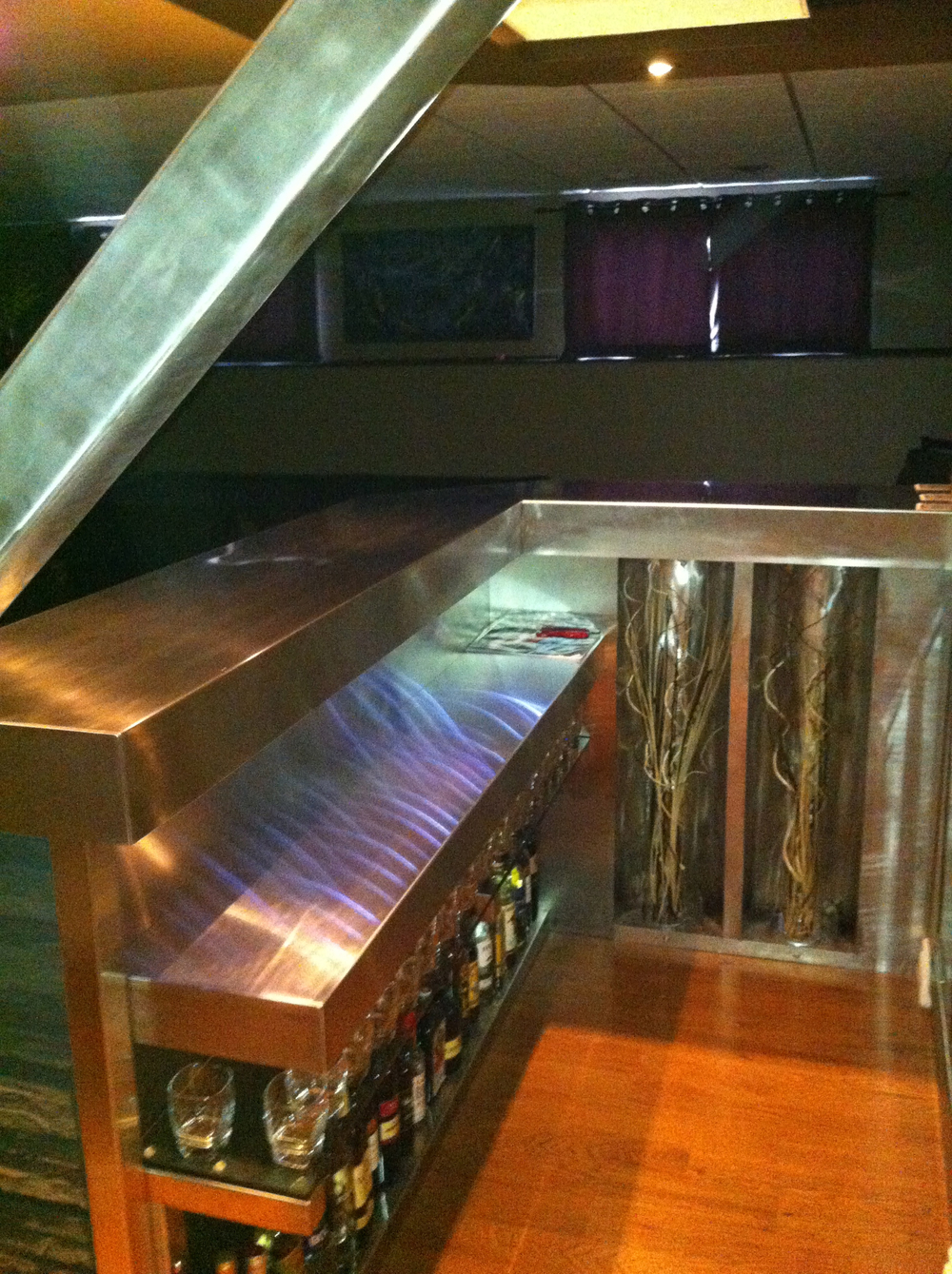 Custom Stainless Steel Bartop Installation