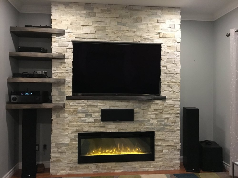 Custom Live Edge Shelves And T.V Mantle.
