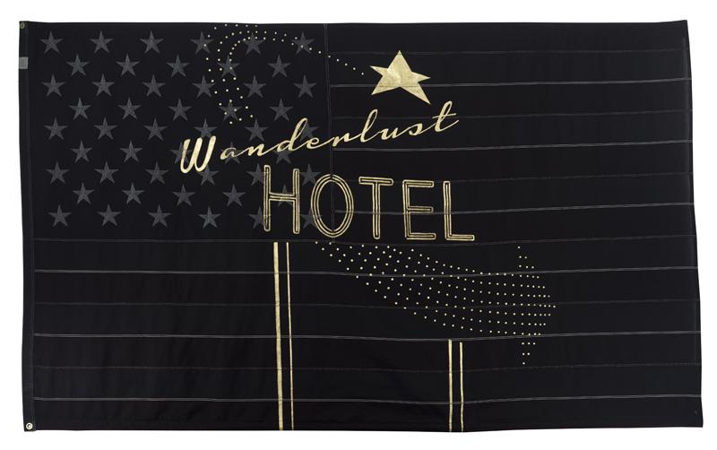 PAM GLEW / WANDERLUST FLAG — 140 x 245cm (displayed unframed) 22 carat Gold leaf & dye on vintage American flag.