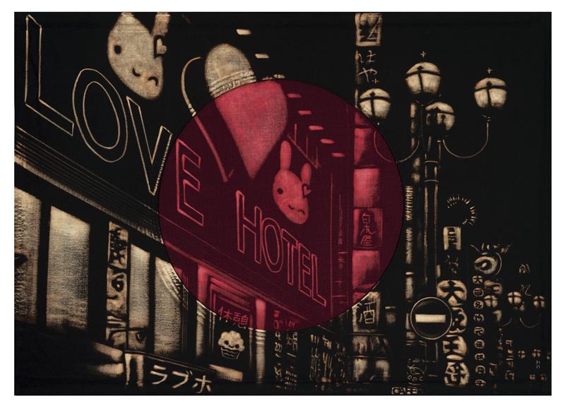 PAM GLEW / LOVE HOTEL — 74.5 x 98.5cm (framed) Bleaching technique & dye on handmade Japanese flag