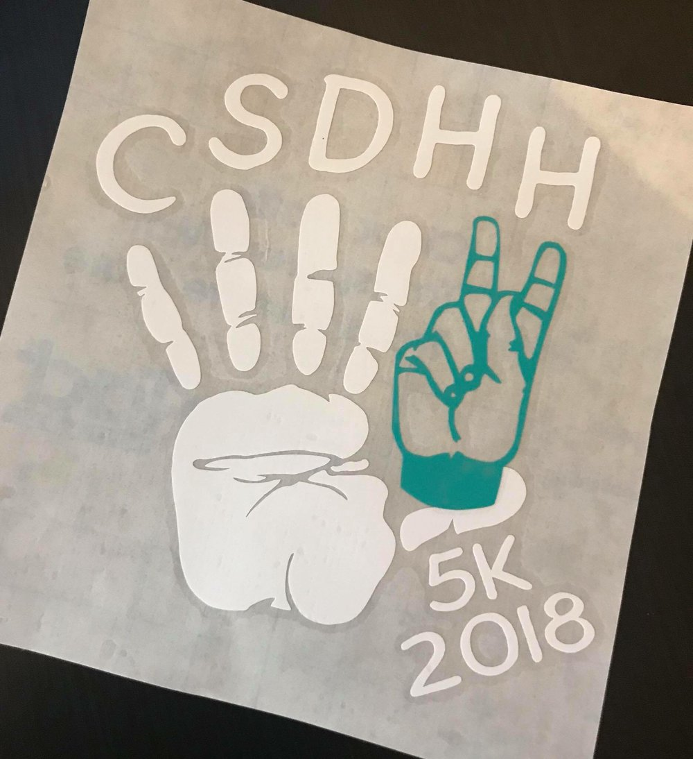 2018 CSDHH The Human Race Decals were designed and made by Cynthia Poupard!