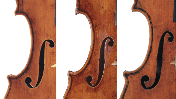 Three  f holes by del Gesu, 1736, 1739 and 1744