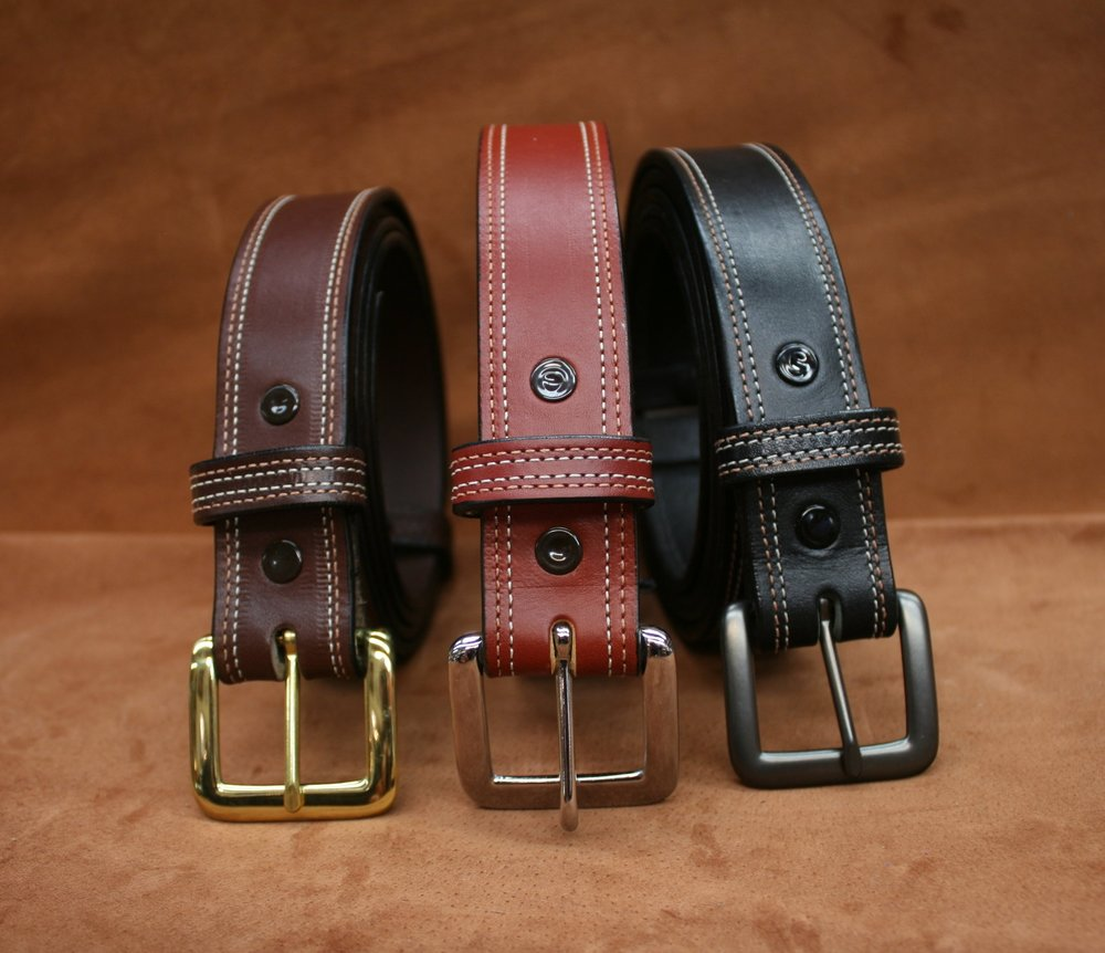P-12 Classic Belt with double edge stitch - $58