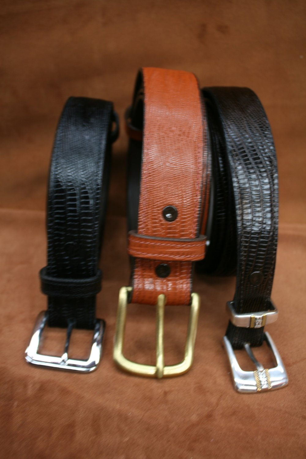 Embossed Lizard Belts - $65  (3 Pc Bkl $24)