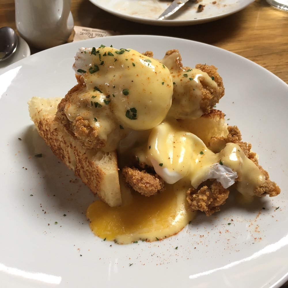 Fried Oyster Benedict from Rock Creek