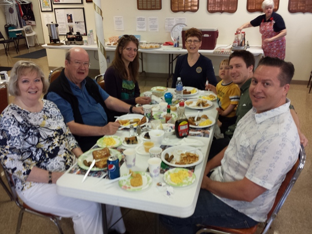 Family members enjoying bountiful breakfast at Post 501's monthly breakfast.