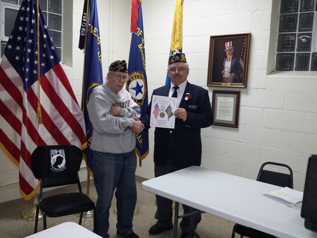 25 year letter awarded to Don Brinkmeier by Post 1st Vice Cdr. Keith Lovell - 4/13/2016