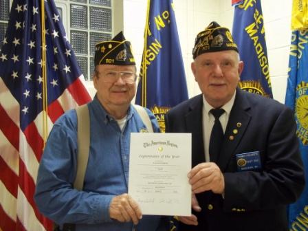 Bill Robbins awarded 2016 Legionnaire of the Year by Cdr. Tom Stolarczyk - 5/11/2016