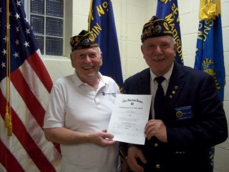 Phil Ingwell awarded 2016 Legionnaire of the Year by Cdr. Tom Stolarczyk - 5/11/2016