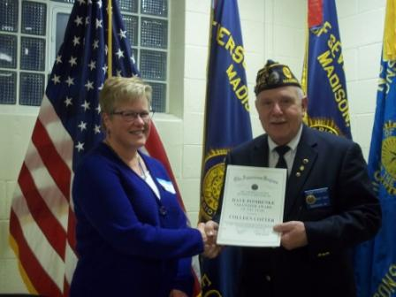 Post 501 Cdr. Tom Stolarczyk presenting to Colleen Cotter the Dave Pomrenke Non-member Volunteer Award for 2016 - 3/19/2016